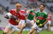 10 August 2019; Jack Cahalane of Cork in action against Shaun Dempsey of Mayo during the Electric Ireland GAA Football All-Ireland Minor Championship Semi-Final match between Cork and Mayo at Croke Park in Dublin. Photo by Ray McManus/Sportsfile