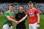 10 August 2019; Referee Niall Cullen with the two captains, Aidan Cosgrave of Mayo and Conor Corbett of Cork, before the Electric Ireland GAA Football All-Ireland Minor Championship Semi-Final match between Cork and Mayo at Croke Park in Dublin. Photo by Ray McManus/Sportsfile