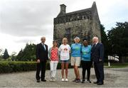 27 August 2019; In attendance, from left, regular participants in the Remembrance Run Dermot Furey and Aifric Morrissey, Irish long distance runner Catherina McKiernan, representatives from Sanctuary Runners, Anna Pringle and Sakheni Nkomo and Founder of the Remembrance Run Frank Greally at the Remembrance Run Launch 2019 at Phoenix Park in Dublin. Photo by Harry Murphy/Sportsfile