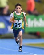 17 August 2019; Theo De Bonis of Ratoath - Rathbeggan, Co. Meath, competing in the Boys' U10 100m during Day 1 of the Aldi Community Games August Festival, which saw over 3,000 children take part in a fun-filled weekend at UL Sports Arena in University of Limerick, Limerick. Photo by Ben McShane/Sportsfile