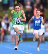 17 August 2019; Josh Grendon of Skyrne, Co. Meath, competing in the Boys' U14 Relay during Day 1 of the Aldi Community Games August Festival, which saw over 3,000 children take part in a fun-filled weekend at UL Sports Arena in University of Limerick, Limerick. Photo by Ben McShane/Sportsfile