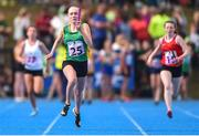 17 August 2019; Caoimhe Fitzsimons of Ratoath - Rathbeggan, Co. Meath, competing in the Girls' U14 Relay Semi-Final 2 during Day 1 of the Aldi Community Games August Festival, which saw over 3,000 children take part in a fun-filled weekend at UL Sports Arena in University of Limerick, Limerick. Photo by Ben McShane/Sportsfile