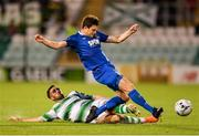 27 August 2019; John Kavanagh of Waterford in action against Daniel Lafferty of Shamrock Roversduring the SSE Airtricity League Premier Division match between Shamrock Rovers and Waterford at Tallaght Stadium in Dublin. Photo by Seb Daly/Sportsfile