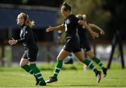 28 August 2019; Katie McCabe, right, and Amber Barrett during Republic of Ireland WNT training session at Johnstown House in Enfield, Co Meath. Photo by Harry Murphy/Sportsfile