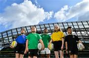 28 August 2019; Ireland Rugby star Conor Murray was on hand in Aviva Stadium to launch the Aviva Mini Rugby Nations Cup. Aviva are giving 20 U10 boys' and U12 girls' teams the chance to fulfil their dreams by playing on the same pitch as their heroes on September 22 while Conor and the team are up against Scotland in Japan. See aviva.ie/safetodream or Aviva Ireland social channels using #SafeToDream for details. Pictured with Conor are, from left, Eve White, age 11, from Wicklow, Shane Fox, age 10, from Dublin, Caoimhe O'Reilly, age 11, from Wicklow, and Shea Delaney, age 10, from Dublin. Photo by Brendan Moran/Sportsfile