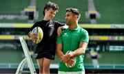 28 August 2019; Ireland Rugby star Conor Murray was on hand in Aviva Stadium to launch the Aviva Mini Rugby Nations Cup. Aviva are giving 20 U10 boys' and U12 girls' teams the chance to fulfil their dreams by playing on the same pitch as their heroes on September 22 while Conor and the team are up against Scotland in Japan. See aviva.ie/safetodream or Aviva Ireland social channels using #SafeToDream for details. Pictured with Conor is Shea Delaney, age 10, from Dublin. Photo by Brendan Moran/Sportsfile