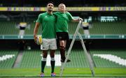 28 August 2019; Ireland Rugby star Conor Murray was on hand in Aviva Stadium to launch the Aviva Mini Rugby Nations Cup. Aviva are giving 20 U10 boys' and U12 girls' teams the chance to fulfil their dreams by playing on the same pitch as their heroes on September 22 while Conor and the team are up against Scotland in Japan. See aviva.ie/safetodream or Aviva Ireland social channels using #SafeToDream for details. Pictured with Conor is Shane Fox, age 10, from Dublin. Photo by Brendan Moran/Sportsfile