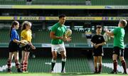 28 August 2019; Ireland Rugby star Conor Murray was on hand in Aviva Stadium to launch the Aviva Mini Rugby Nations Cup. Aviva are giving 20 U10 boys' and U12 girls' teams the chance to fulfil their dreams by playing on the same pitch as their heroes on September 22 while Conor and the team are up against Scotland in Japan. See aviva.ie/safetodream or Aviva Ireland social channels using #SafeToDream for details. Pictured with Conor are, from left, Eve White, age 11, from Wicklow, Caoimhe O'Reilly, age 11 from Wicklow, Shea Delaney, age 10, from Dublin, and Shane Fox, age 10, from Dublin. Photo by Brendan Moran/Sportsfile