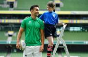 28 August 2019; Ireland Rugby star Conor Murray was on hand in Aviva Stadium to launch the Aviva Mini Rugby Nations Cup. Aviva are giving 20 U10 boys' and U12 girls' teams the chance to fulfil their dreams by playing on the same pitch as their heroes on September 22 while Conor and the team are up against Scotland in Japan. See aviva.ie/safetodream or Aviva Ireland social channels using #SafeToDream for details. Pictured with Conor is Eve White, age 11, from Wicklow. Photo by Brendan Moran/Sportsfile