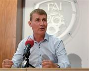28 August 2019; Head coach Stephen Kenny during a Republic of Ireland U21 squad announcement at FAI Headquarters in Abbotstown, Dublin. Photo by Harry Murphy/Sportsfile