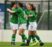 29 August 2019; Alannah McEvoy of Republic of Ireland, 9, is congratulated by her team-mates from left Jessica Ziu, Emily Whelan and Izzy Atkinson after scoring the first goal from the penalty spot against Austria during the Women's U19 International Friendly match between Republic of Ireland and Austria at Home Farm FC in Dublin. Photo by Matt Browne/Sportsfile