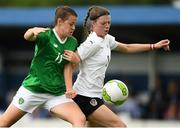 29 August 2019; Emily Whelan of Republic of Ireland in action against Michela Croatto of Austria during the Women's U19 International Friendly match between Republic of Ireland and Austria at Home Farm FC in Dublin. Photo by Matt Browne/Sportsfile