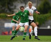 29 August 2019; Emily Whelan of Republic of Ireland in action against Celina Degen of Austria during the Women's U19 International Friendly match between Republic of Ireland and Austria at Home Farm FC in Dublin. Photo by Matt Browne/Sportsfile