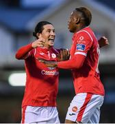 30 August 2019; Romeo Parkes of Sligo Rovers, right, celebrates with team-mate Ronan Coughlan after scoring his side's first goal during the SSE Airtricity League Premier Division match between Cork City and Sligo Rovers at Turners Cross in Cork. Photo by Eóin Noonan/Sportsfile
