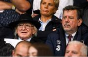 30 August 2019; President of Ireland Michael D Higgins, left, and FAI President Donal Conway in attendance prior to the SSE Airtricity League Premier Division match between Shamrock Rovers and Bohemians at Tallaght Stadium in Dublin. Photo by Stephen McCarthy/Sportsfile