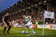 30 August 2019; Aaron Greene of Shamrock Rovers in action against Rob Cornwall of Bohemians during the SSE Airtricity League Premier Division match between Shamrock Rovers and Bohemians at Tallaght Stadium in Dublin. Photo by Stephen McCarthy/Sportsfile