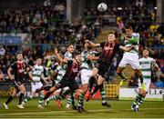 30 August 2019; Graham Burke of Shamrock Rovers in action against Darragh Leahy of Bohemians during the SSE Airtricity League Premier Division match between Shamrock Rovers and Bohemians at Tallaght Stadium in Dublin. Photo by Stephen McCarthy/Sportsfile