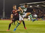30 August 2019; Aaron Greene of Shamrock Rovers in action against Darragh Leahy of Bohemians during the SSE Airtricity League Premier Division match between Shamrock Rovers and Bohemians at Tallaght Stadium in Dublin. Photo by Seb Daly/Sportsfile