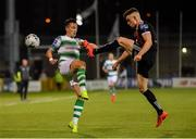 30 August 2019; Aaron McEneff of Shamrock Rovers in action against Darragh Leahy of Bohemians during the SSE Airtricity League Premier Division match between Shamrock Rovers and Bohemians at Tallaght Stadium in Dublin. Photo by Seb Daly/Sportsfile