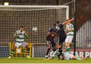 30 August 2019; Graham Burke of Shamrock Rovers clears the ball off the line following a shot from Rob Cornwall of Bohemians during the SSE Airtricity League Premier Division match between Shamrock Rovers and Bohemians at Tallaght Stadium in Dublin. Photo by Seb Daly/Sportsfile