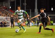 30 August 2019; Graham Burke of Shamrock Rovers in action against Darragh Leahy of Bohemians during the SSE Airtricity League Premier Division match between Shamrock Rovers and Bohemians at Tallaght Stadium in Dublin. Photo by Seb Daly/Sportsfile