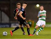 30 August 2019; Jack Byrne of Shamrock Rovers in action against Darragh Leahy of Bohemians during the SSE Airtricity League Premier Division match between Shamrock Rovers and Bohemians at Tallaght Stadium in Dublin. Photo by Seb Daly/Sportsfile