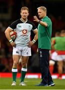 31 August 2019; Ireland head coach Joe Schmidt with Kieran Marmion prior to the Under Armour Summer Series 2019 match between Wales and Ireland at the Principality Stadium in Cardiff, Wales. Photo by Brendan Moran/Sportsfile