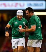 31 August 2019; Niall Scannell of Ireland speaks with his substitute replacement Rory Best as he leaves the pitch during the Under Armour Summer Series 2019 match between Wales and Ireland at the Principality Stadium in Cardiff, Wales. Photo by David Fitzgerald/Sportsfile