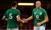 31 August 2019; Devin Toner of Ireland high fives James Ryan, as he comes on to replace him as a substitute, during the Under Armour Summer Series 2019 match between Wales and Ireland at the Principality Stadium in Cardiff, Wales. Photo by David Fitzgerald/Sportsfile