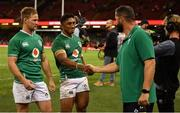 31 August 2019; Bundee Aki of Ireland shakes the hand of defence coach Andy Farrell as he leaves the pitch following the Under Armour Summer Series 2019 match between Wales and Ireland at the Principality Stadium in Cardiff, Wales. Photo by David Fitzgerald/Sportsfile