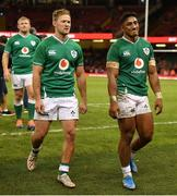 31 August 2019; Bundee Aki, right, and Kieran Marmion of Ireland leave the pitch following the Under Armour Summer Series 2019 match between Wales and Ireland at the Principality Stadium in Cardiff, Wales. Photo by David Fitzgerald/Sportsfile
