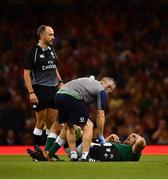 31 August 2019; Tadhg Beirne of Ireland receives medical treatment during the Under Armour Summer Series 2019 match between Wales and Ireland at the Principality Stadium in Cardiff, Wales. Photo by David Fitzgerald/Sportsfile