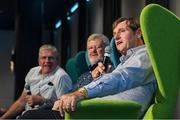 31 August 2019; Former Dublin footballer Kevin Moran with former Kerry footballer Eoin 'Bomber' Liston and former Offaly footballer Richie Connor during a GPA Football Legends Lunch at Croke Park in Dublin. Photo by Matt Browne/Sportsfile