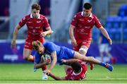 31 August 2019; Niall Comerford of Leinster is tackled by Rhodri Jones of Scarlets during the The Celtic Cup Round 2 match between Leinster A and Scarlets A at Energia Park in Donnybrook, Dublin. Photo by Harry Murphy/Sportsfile