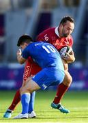 31 August 2019; Alex Jefferies of Scarlets is tackled by Harry Byrne of Leinster during the The Celtic Cup Round 2 match between Leinster A and Scarlets A at Energia Park in Donnybrook, Dublin. Photo by Harry Murphy/Sportsfile