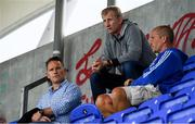 31 August 2019; Leinster head coach Leo Cullin, centre head of athletic performance Charlie Higgins, left, and senior coach Stuart Lancaster, right, look ojn prior to the The Celtic Cup Round 2 match between Leinster A and Scarlets A at Energia Park in Donnybrook, Dublin. Photo by Harry Murphy/Sportsfile