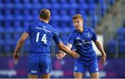 31 August 2019; Adam La Grue, right, and Niall Comerford  of Leinster embrace following the Celtic Cup Round 2 match between Leinster A and Scarlets A at Energia Park in Donnybrook, Dublin. Photo by Harry Murphy/Sportsfile