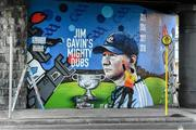 1 September 2019; Ruairí O'Byrne of featurewalls.ie puts the finishing touches to a mural in Ballybough close to Croke Park before the GAA Football All-Ireland Senior Championship Final match between Dublin and Kerry at Croke Park in Dublin. Photo by Piaras Ó Mídheach/Sportsfile