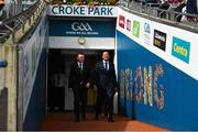 1 September 2019; An Taoiseach Leo Varadkar, T.D., right and Ard Stiúrthóir Tom Ryan walk out before the Electric Ireland GAA Football All-Ireland Minor Championship Final match between Cork and Galway at Croke Park in Dublin. Photo by Harry Murphy/Sportsfile