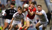 1 September 2019; Conor Corbett of Cork in action against Jonathan McGrath of Galway, right, as Donie Halleran, left, and Ruairí King look on during the Electric Ireland GAA Football All-Ireland Minor Championship Final match between Cork and Galway at Croke Park in Dublin. Photo by Piaras Ó Mídheach/Sportsfile