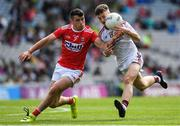 1 September 2019; Nathan Grainger of Galway in action against Joseph O'Shea of Cork during the Electric Ireland GAA Football All-Ireland Minor Championship Final match between Cork and Galway at Croke Park in Dublin. Photo by Eóin Noonan/Sportsfile