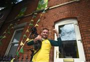 1 September 2019; Kerry supporter Anthony Kelly, from Killarney, with his dog Jesse, outside his home on Fitzroy Avenue, ahead of the GAA Football All-Ireland Senior Championship Final match between Dublin and Kerry at Croke Park in Dublin. Photo by Daire Brennan/Sportsfile