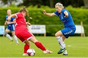 1 September 2019; Melissa Finn of Wilton United in action against Lauren Hayes of TEK United during the FAI Women's Intermediate Cup Final match between Wilton United and TEK United at St Kevin's FC, Newhill Park in Two Mile Borris, Tipperary. Photo by Michael P Ryan/Sportsfile