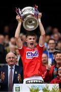 1 September 2019; Cork captain Conor Corbett lifts the Tom Markham Cup after the Electric Ireland GAA Football All-Ireland Minor Championship Final match between Cork and Galway at Croke Park in Dublin. Photo by Harry Murphy/Sportsfile