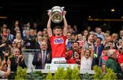 1 September 2019; Cork captain Conor Corbett lifts the the Tom Markham cup after the Electric Ireland GAA Football All-Ireland Minor Championship Final match between Cork and Galway at Croke Park in Dublin. Photo by Eóin Noonan/Sportsfile