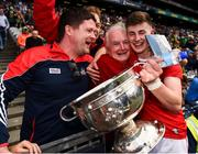 1 September 2019; Cork captain Conor Corbett celebrates with club-mates after the Electric Ireland GAA Football All-Ireland Minor Championship Final match between Cork and Galway at Croke Park in Dublin. Photo by Eóin Noonan/Sportsfile