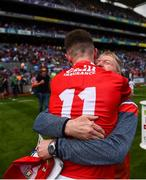 1 September 2019; Cork manager Bobbie O'Dwyer celebrates with Conor Corbett of Cork after the Electric Ireland GAA Football All-Ireland Minor Championship Final match between Cork and Galway at Croke Park in Dublin. Photo by Eóin Noonan/Sportsfile