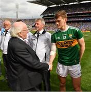 1 September 2019; President Michael D. Higgins shakes hands with Gavin White of Kerry during the GAA Football All-Ireland Senior Championship Final match between Dublin and Kerry at Croke Park in Dublin. Photo by Seb Daly/Sportsfile