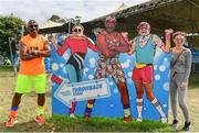 1 September 2019; Mr Motivator poses for a photograph with festival-goers, Tanya Murphy, Teresa Greene and Tasha Galvin from Waterford, at the Electric Ireland Throwback Stage during day three of Electric Picnic 2019 at Stradbally in Laois. Lycra Legend Mr Motivator brings the energy to Electric Ireland's ThrowbackStage. Fitness Fanatic Mr Motivator got the crowd revived at the final day of Electric Ireland's Throwback Stage. The lycra legend brought the crowd's energy levels up for one more day of retro fun. This year, Electric Ireland's Throwback Stage hosts a line-up of legends including headliners Bonnie Tyler, N-Trance, Mr. Motivator and Lords of Strut. One of the most popular stages at the festival, Electric Ireland's Throwback Stage has previously played host to pop legends B*witched, Johnny Logan, Heather Small, 5ive, S Club Party, Ace of Base, 2 Unlimited, The Vengaboys and Bananarama – to name a few. Share in the nostalgia of the Electric Ireland Throwback Stage, visit: www.twitter.com/ElectricIreland, www.facebook.com/ElectricIreland, www.instagram.com/ElectricIreland.  #ThrowbackThrowdown. Photo by Sam Barnes/Sportsfile