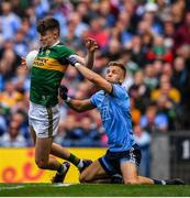 1 September 2019; Seán O'Shea of Kerry is tackled by Jonny Cooper of Dublin during the GAA Football All-Ireland Senior Championship Final match between Dublin and Kerry at Croke Park in Dublin. Photo by Brendan Moran/Sportsfile